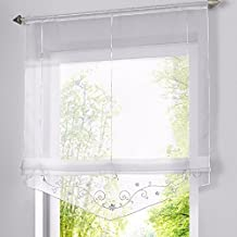 romano sombra ventana cortina bordado de flor cortina visillos con trabilla ajustable mediante cinta para
