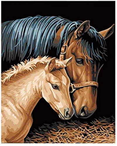 LSDEERE Malen nach Zahlen Erwachsene Kinder DIY Ölgemälde Pferde pflegen - Ohne Rahmen - 40x50cm-Holzrahmen Kreative Digitale Leinen Leinwand Neujahr Geschenk Haus Dekor