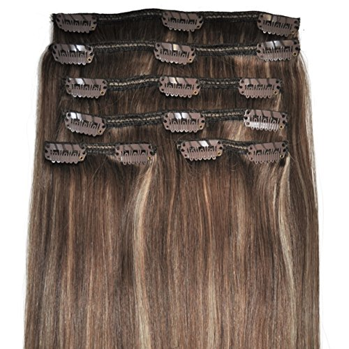 20 inch, FULL HEAD, 6pcs, Silky Soft Clip-in Hair Extensions - 100% Remy, Triple Weft, Human Hair, (20