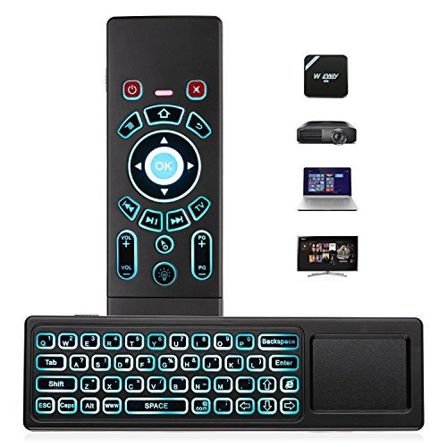 Airmouse Fernbedienung, AMBOLOVE Mini Tastatur kabellos Somatosensorisches Spiel Keyboard 2,4 G wiederaufladbare Air Maus Combo mit Touchpad und 7 Farb-LED Backlits für Smart TV, HTPC, IPTV, Android TV Box
