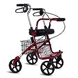 Walker for seniors Alter Mann-Einkaufswagen, Laufkatze, die tragbare Allrad-gehende Hilfskrückeen faltet