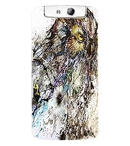 Fuson 3D Printed Owl Walpaper Designer Back Case Cover for Oppo N1 - D854