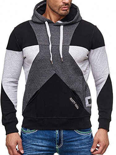Rusty Neal Herren Kapuzenpullover Sweatshirt Pullover Hoodie Sweater RN-19042 Anthrazit