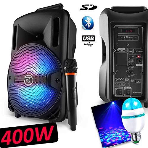 Karaoke-Lautsprecher Mobile Party Dj Sono PA Akku 8 Zoll 400 W LEDs RGB USB/SD/BT + Micro VHF MyDJ Djoon08 + Leuchtmittel DIAMS