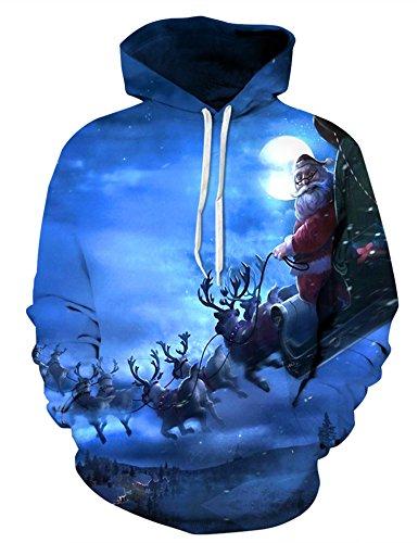 Nawoshow Unisex 3D Druck Kapuzenpullover Hoodie Sweatshirt Langarm Top Shirt Herbst Spaß Pullover für Männer und Frauen Weihnachten