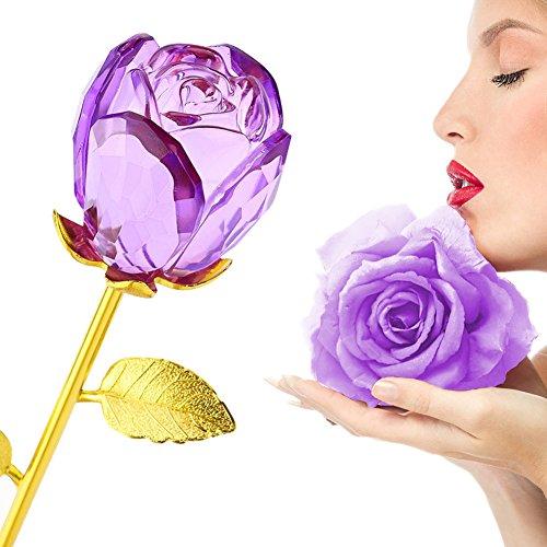 Rosa, germoglio in cristallo, stelo in oro da 24 carati, Ideale come regalo per la festa della mamma, San Valentino,...