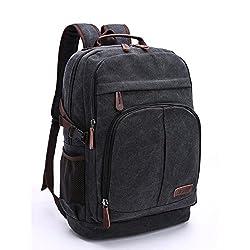 17,3 Zoll Canvas Notebooktasche Laptop-Tasche Rücksack Passend für bis zu 17,3 Gaming Laptops für Dell, Asus, MSI Gaming Rücksack Bergsteigen Tasche (Schwarz)