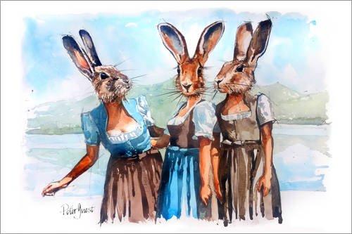 Stampa su legno 120 x 80 cm: bunny click di peter guest
