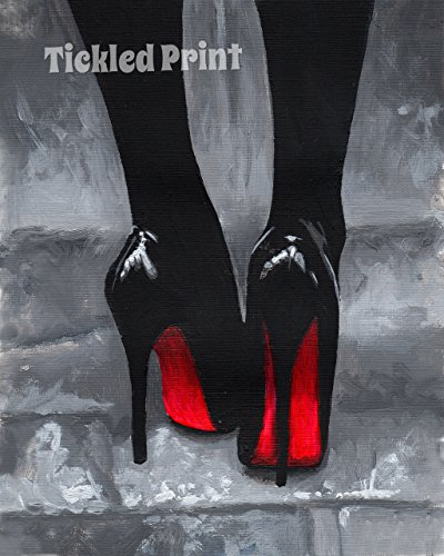 art-print-christian-louboutin-shoes-black-white-red-on-pavement-watercolour-personalised-birthday-xm
