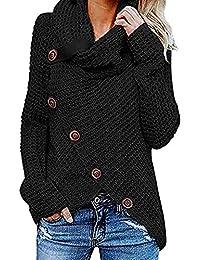 16f87ed83fe2 Flabor+Strickpullover Damen schwarz Pullover Rollkragen Strickjacke mit  Knopf asymmetrisch Sweatshirt Einfarbig Wickelpullover