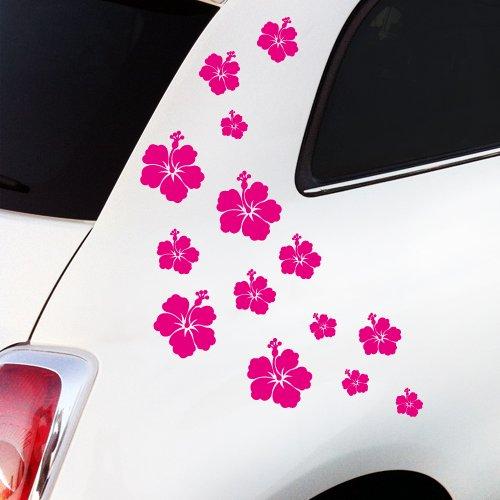 """WANDKINGS Autoaufkleber \""""Hibiskus Blüten\"""" Sticker Set - 14 Aufkleber auf DIN A4 Bogen, rosa - erhältlich in 27 Farben"""