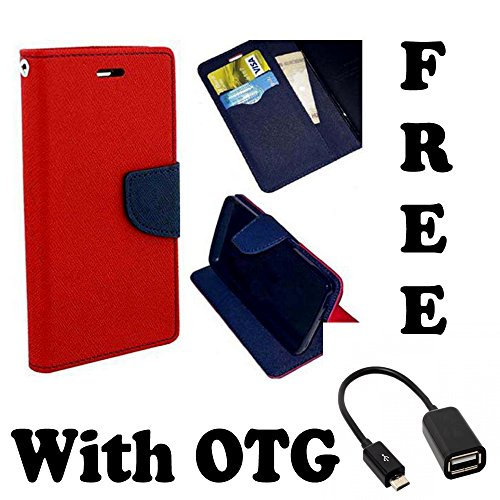 Gionee Elife E5 Flip Cover  Original Premium PU Leather Flip Diary Card Pocket Designer Case Cover Stand with Screen Film Protector with free OTG By 1by1  available at amazon for Rs.189