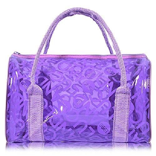 Qiansheng Fashion Portable Jelly colorati pois estivo da spiaggia in PVC trasparente borse borsetta nuoto impermeabile fitness sport lavaggio borsa con cerniera per donne, Orange, taglia unica Purple
