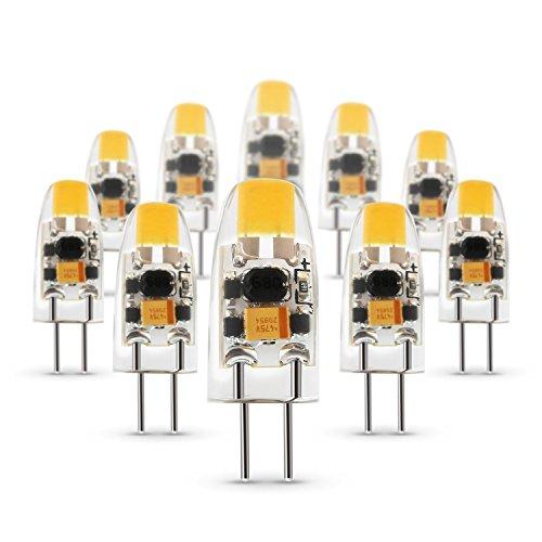 Albrillo 1.5W G4 Cob LED Lampe aus Silika Gel Ersetzt 15W, Warmweiß (3000 Kelvin), 120 Lumen, AC/DC 12V, 360° Abstrahlwinkel, 10er Pack Nicht dimmbar