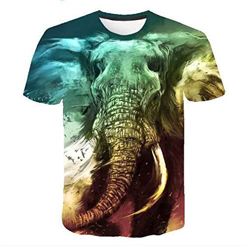 Männer Frühling Sommer Männer T-Shirts 3D Gedruckt Tier t-Shirt Kurzarm Lustige Design Casual Tops Tees Männlich,3D Digitaldruck Elefant blau 3XL