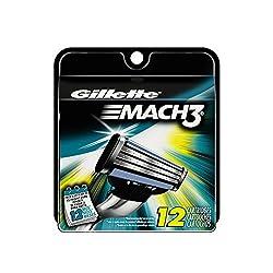 Gillette Mach3 Base Cartridges, 12 Count