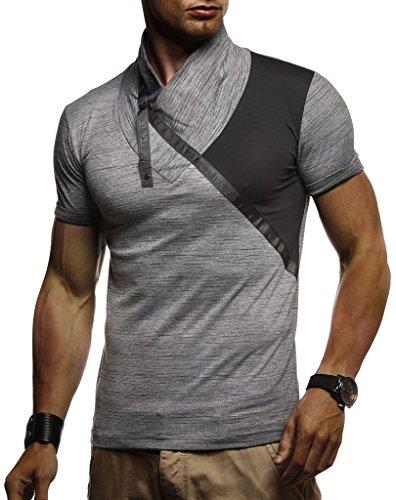 LEIF NELSON Herren Sportshirt T-Shirt Hoodie Sweatshirt Crew Neck Rundkragen Kurzarm Longsleeve modern Basic Shirt Freizeit Hemd LN1205; Größe M, Anthrazit