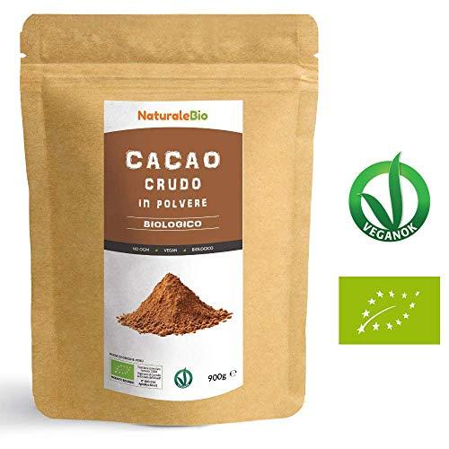 Cacao Crudo Biologico in Polvere da 900g | 100% Bio, Naturale e Puro | Prodotto in Perù dalla Pianta Theobroma Cacao | Superfood Ricco di Antiossidanti, Minerali e Vitamine | NATURALEBIO