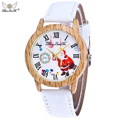 Weihnachtsuhren,Moonuy Mode & Casual Weihnachtsmann Uhren Ältere Muster Holzmaserung Denim Band Analog Quarz Vogue Uhren in 9 Farben (H)