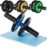 Rexoo Bauchtrainer AB Roller Wheel für Fitness Bauchmuskeltrainer Bauchroller mit dicker Knieauflage, Farben:Grün