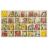 Clayre & Eef 62960 Kiste Kasten mit Holzbuchstaben Holz Buchstaben Alphabet ABC bunt Kistengröße ca. 14 x 24 cm