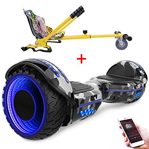 RCB 6,5 Zoll Selbstbalance Elektroroller Hoverboard mit blinkenden Rädern Bluetooth Skateboard für Jugendliche und Kinder