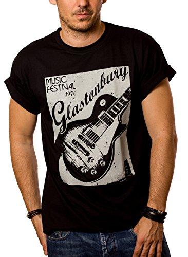 t mit Gitarre GLASTONBURY schwarz Herren M ()