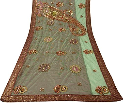 Vintage Saree Indian Art Silk & Net Embroidered Beaded Green Maroon Sari Fabric -