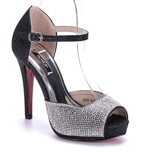 Schuhtempel24 Damen Schuhe Spangenpumps Pumps schwarz Stiletto Glitzer/Ziersteine 12 cm High Heels