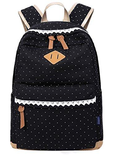 5 All Fashion Girl zaino per la scuola zaino Canvas Donna Adolescente cotone Borsa per la scuola Outdoor tempo libero con elegante pizzo QXT 6066, nero (nero) - QXT-6066
