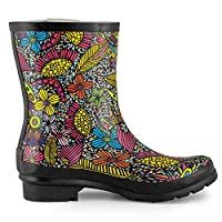 SheSole Womens Wellies Short Rubber Festival Rain Wellington Boots Ladies Floral Pattern