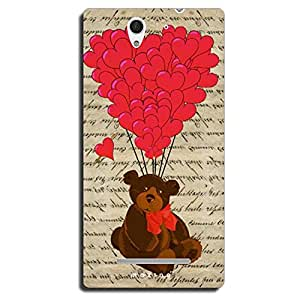 Mozine Teddy Red Ballons printed mobile back cover for Sony Xperia C3
