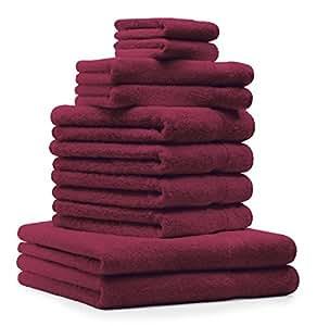 10 tlg. Handtücher Badetuch Duschtuch Set Premium Farbe Dunkel Rot 100% Baumwolle 2 Duschhandtücher 4 Handtücher 2 Gästetücher 2 Waschhandschuhe