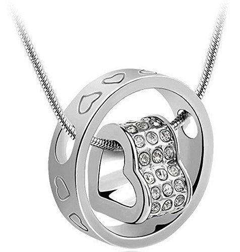 LUXURY - Collana pendente da donna modello CUORE con catenina e ciondolo. Idea regalo per (18k Oro Bianco Della Collana Di Diamante Solitario)