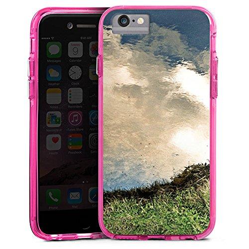 Apple iPhone 6s Plus Bumper Hülle Bumper Case Glitzer Hülle Wasser Water Wiese Bumper Case transparent pink