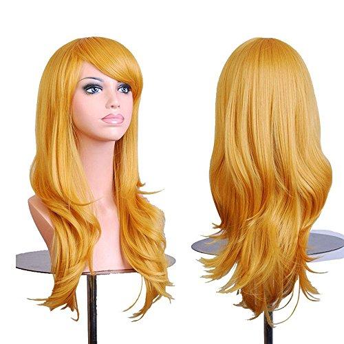 Falamka Long ondulés Cheveux résistant à la chaleur Jaune Cosplay Perruque