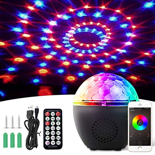 LED Discokugel,BACKTURE Bluetooth Musikspieler Magic Discokugel 16 Farbe Modi mit Fernbedienung + USB Kabel + 8 Stufen Lichtmodus LED Bühnenbeleuchtung Party Lichter Projektor Discolampe Lichteffekte