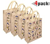 #8: 4 Pcs Yoga Print Eco-Friendly Jute Bag | Lunch Bag | Gift Bag | Shopping Bag for Women, Men with Zip & Handle, Ideal for Lunch Box, Tiffin, Water Bottle
