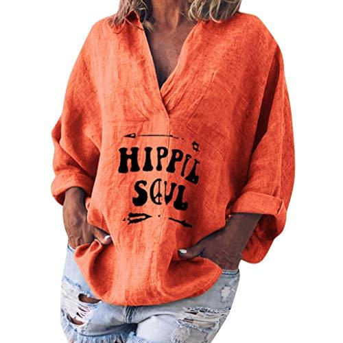 XZDCDJ Damen Langarm Baumwolle Leinen Kaftan Baggy Bluse Damen T-Shirt Tops(Orange,XXXXXL) -