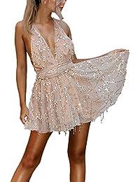 Vestiti Donna Eleganti Estivi Corti Con Tassels Paillettes Abiti Da  Cerimonia Smanicato V Profondo Backless Prom 77a7b6edf46
