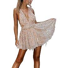 6511b3abae6d Vestiti Donna Eleganti Estivi Corti Con Tassels Paillettes Abiti Da  Cerimonia Smanicato V Profondo Backless Prom