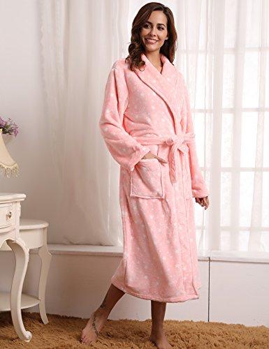 Aibrou Bademantel Damen Winter Morgenmantel super weiches flauschiges coral fleece warmer Schlafanzug Nachtwäsche aus Flanell Saunamantel Frottee Kleidung Rosa Stern
