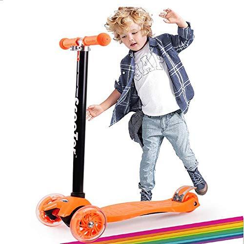 Shopps 3-12 Jahre Alter Kinderroller, faltbares Design und Verstellbarer T-Lenker, Abnehmbarer Allrad-Blitzroller - für Kinder/Kleinkinder Mädchen oder Jungen / 3 Farben