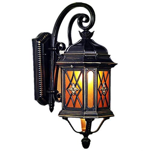 Galxy Europalette Aussenwandlampen, Wandleuchte aus Aluminium-Legierung und Glas lampenschirm, E27 IP44 Wand Außenleuchte Retro abwärts, Beleuchtung für Garten Hof Treppe Balkon Terrasse Laubengang