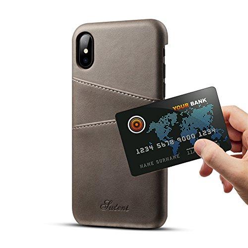 iPhone X Pelle Case con Titolare di carte Airart premio Annata Portafoglio Ultra magro Professionale Esecutivo schiocco Sopra Indietro Copertina con 2 slot per carte di credito ID Supporto per iPhone  Gris