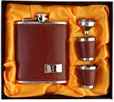 #10: Stainless Steel/Faux Leather 7 Oz/207 ml Hip Flask + 2 Shot Glasses + Funnel