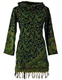 Guru-Shop Minikleid Boho Chic, Kapuzenkleid, Strickkleid, Tunika, Damen, Schwarz/Lemon, Synthetisch, Size:XL (42), Kurze Kleider Alternative Bekleidung