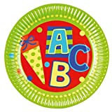 Motivteller ABC - Ø 23 cm, Pappe, 8 Stück