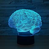 USB Novità Light Brain Carebellum 3D Illusion Optical Lamp 7 Cambia colore notte Nightlight Touch Desk Light Table Decor per l'home office
