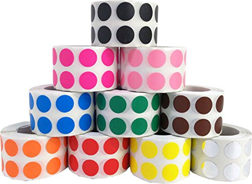 Circulo Punto Pegatinas 10 Color Paquete, 13 mm 1/2 Pulgada Redondo, 1000 Etiquetas de Cada Color en un Rollo